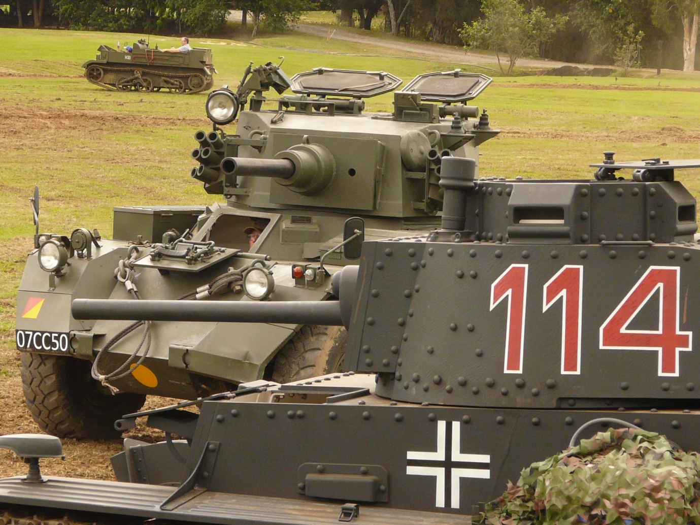 All manner of armoured vehicles were available for rides around the dirt track.