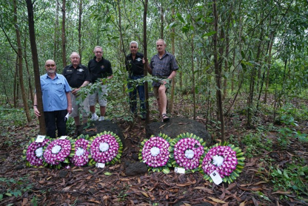20th NOVEMBER 2016: 3 Troop Engineers who were at the Battle of Fire Support Base Andersen gather at The Knoll site where their mates were hit by Enemy mortar bombs on 18th February 1968. L to R Chuck Bonzas, Glenn Weise, John Hoskin, Norm Cairns and Barry Gilbert.
