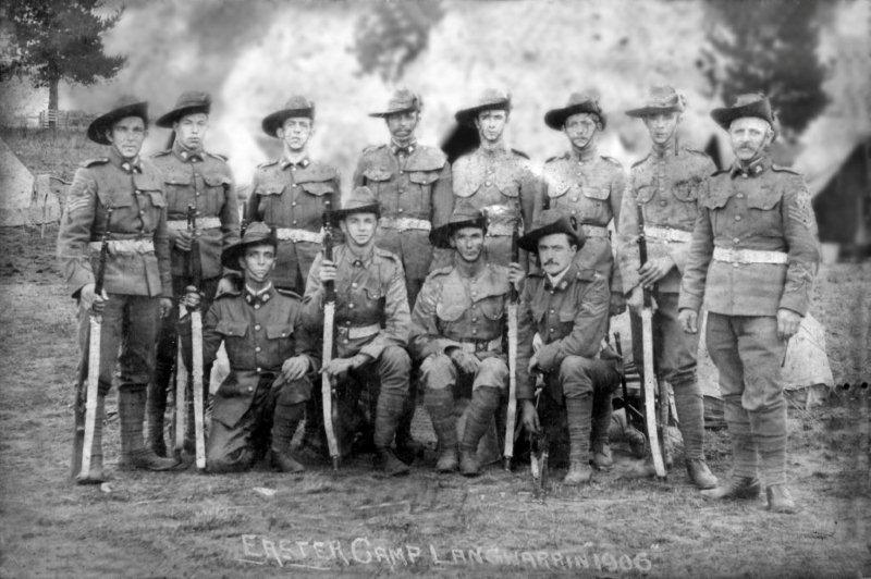 Colour Sergeant J W Cordwell (standing, right) at Langwarrin 1906[43]
