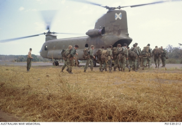 3 Troop Engineers were transported to FSB Andersen by US Army Chinook helicopter (AWM)