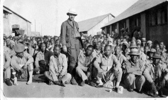 Chinese Labour Force recruits awaiting transport to Europe from Wei Hai Wei in Northern China January 1918.