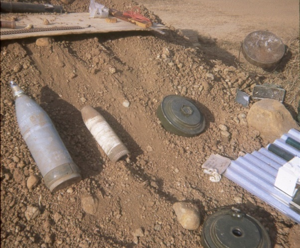 Unexploded mines and shells at FSB Andersen, including Russian TM46 anti-tank mines* cleared from road to Trang Bom photo: SPR Brian Hopkins 3 Troop * Andersen was the first time that these Russian mines were found in Vietnam