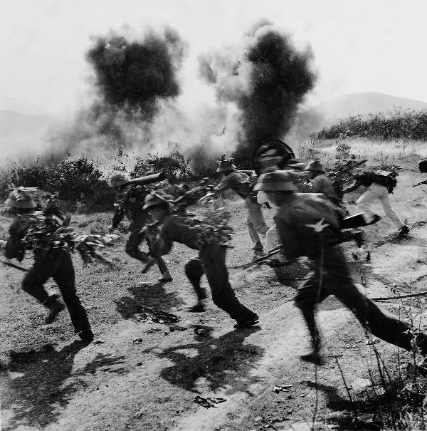 Enemy troops in attack