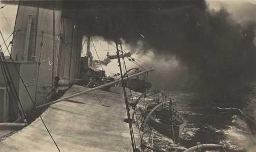 HMAS Melbourne underway in North Sea, with another cruiser astern, c1917 Museum of HMAS Cerberus