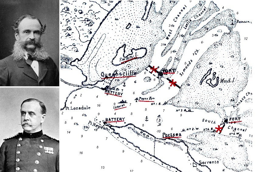 Top left: Sir William F D JervoisLower Left: Sir Peter Scratchley Wikipedia Commons Sketch Map accompanying the 1877 Jervois Defence of Port Phillip Report: 1878 VPP – Archive at Fort Queenscliff Museum