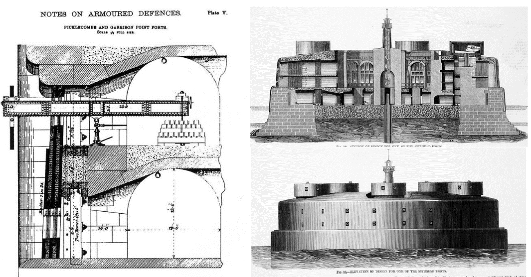 Designs for an iron casemate battery and a large three-tier Solent Sea fort - Sir Wm. Jervois – c. 1868 Author's Collection