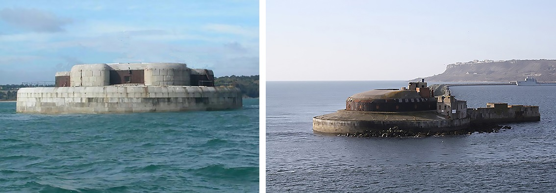 St Helen's Breakwater Fort – Solent, Portsmouth. U.K. & Portland Breakwater Fort, Portland Harbour, U.K. Two possible choices open to Scratchley in his attempt to reduce the proposed South channel sea fort to a two-tier fort - with a single gun deck and rooftop 'Cole's' turret. St Helen's Fort utilized casemates with laminated iron gun shields, a less expensive option than at the Portland Breakwater Fort, where the casemate was clad with a full outer skin of iron-armour. Photos: Author's Collection