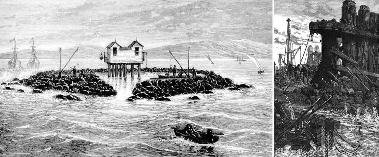 South Channel Fort Annulus under construction c. 1880 & 1885 Images: Trove Newspapers: Australasian Sketcher, 27 March, 1880 & Illustrated Sydney News, June 1, 1885