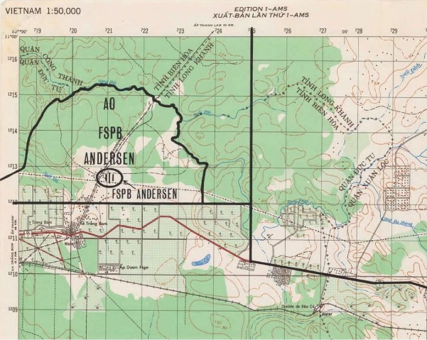 Topo map of Trang Bom on Route 1, overlaid with the approximate location of FSB Andersen. The Standing Patrol on 17/18 Feb 1968 was located at YT202128 on the slope of the knoll feature.