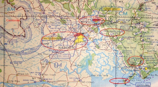 Map of Saigon–Bien Hoa-Vung Tau area showing Bien Hoa, and Trang Bom east of Bien Hoa. Source: vietnamairlift.com (Nui Dat area shown as Luscombe on this map, and Trang Bom is located just south of the blue CM letters)