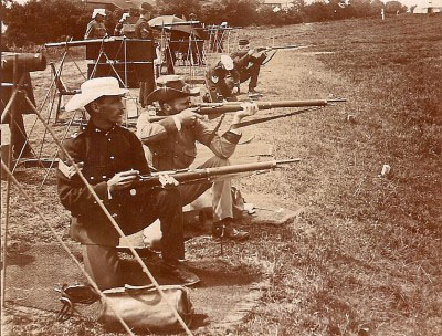 On the firing point at Bisley 1897