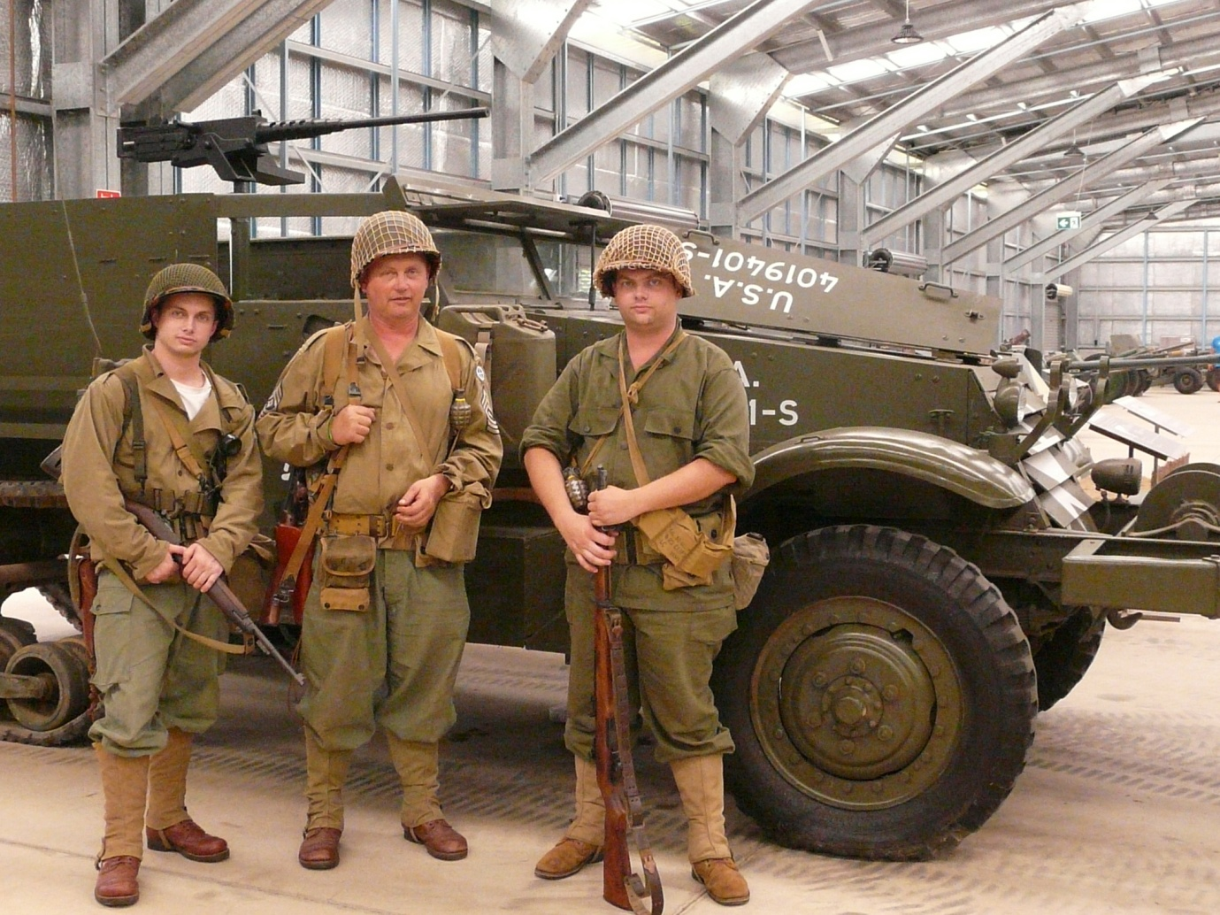 """The day I went was a re-enactors' day. """"Soldiers"""" came from all parts of the country, such as this father and two sons from Sydney, to indulge their passion and help out."""