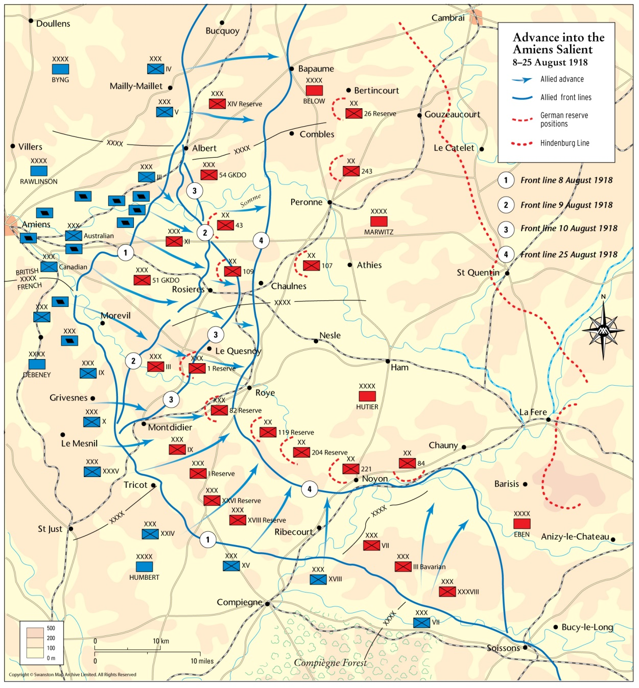 The guns of August 1918 map