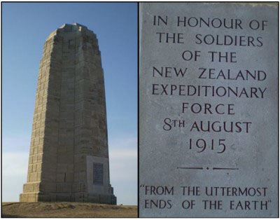 The monument dedicated to the New Zealand soldiers atop Chunuk Bair