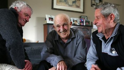 Jim Bourke, top, sitting between mates Gordon Peterson and Peter Aylett, has devoted his life to finding the remains of Australian soldiers in unmarked graves from the Korean and Vietnam wars. Picture: Aaron Francis Source: News Corp Australia